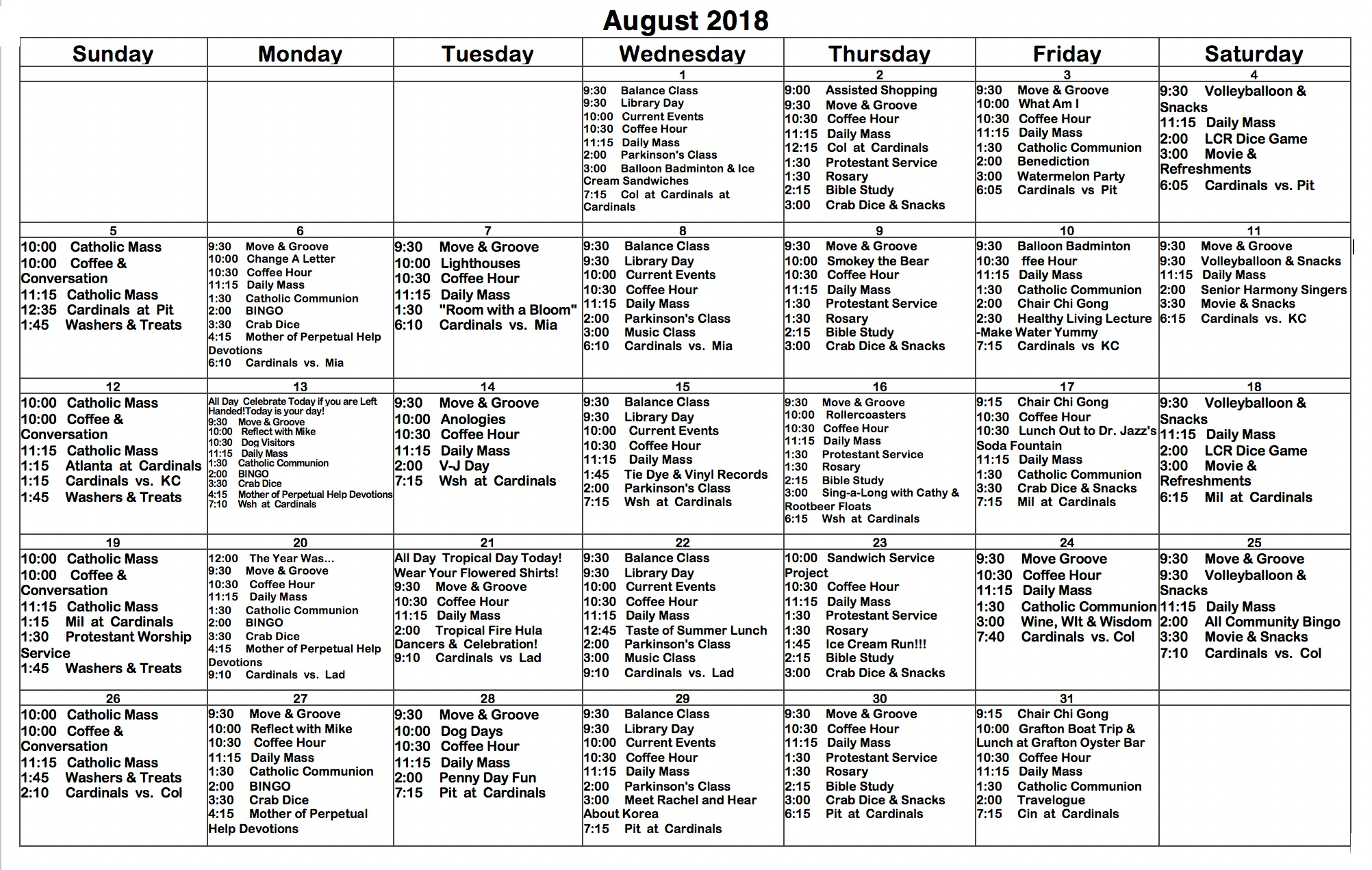 August 2018 St. Francis Center For Assisted Living Throughout Activity Calendar Assisted Living
