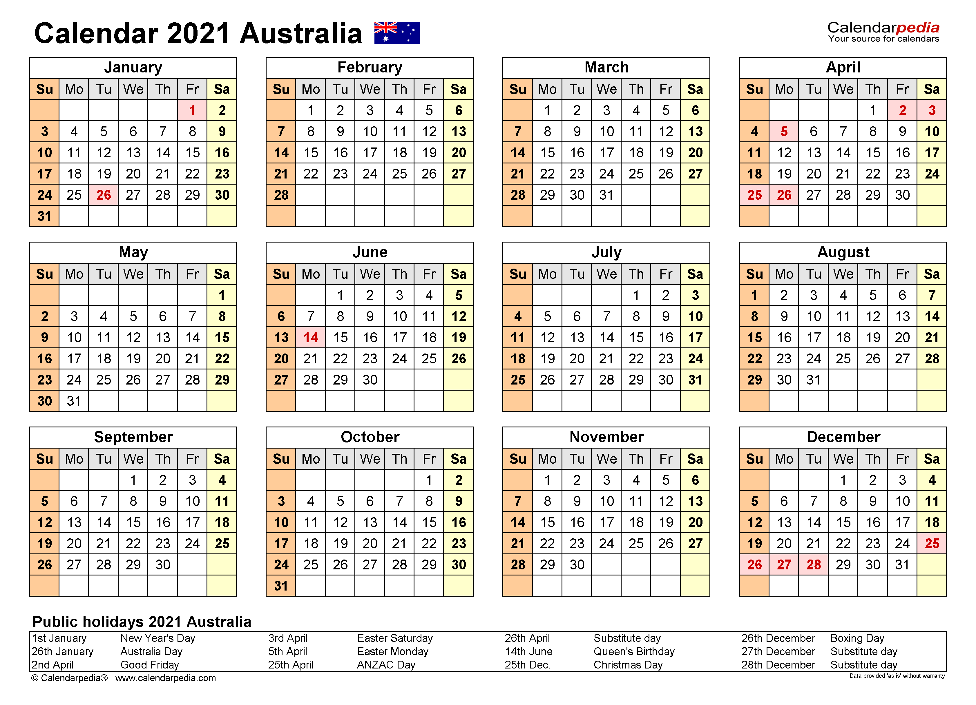 Australia Calendar 2021 - Free Printable Pdf Templates inside South Huntington 2021 Calendar
