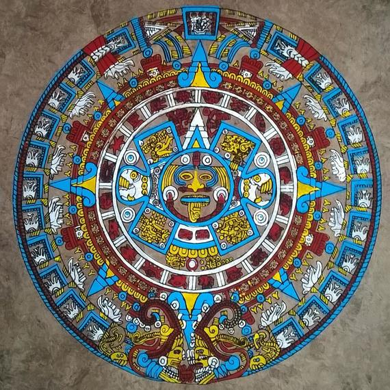 Aztec Calendar Mexican Folk Art Home Decor Colourful Art Pertaining To Mexican Calendars With Day Suggested Names