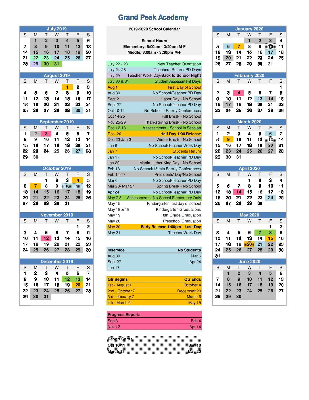 Back To School Night 2019 2020 | Grand Peak Academy Pertaining To Colorado Springs D11 School Calendar2020