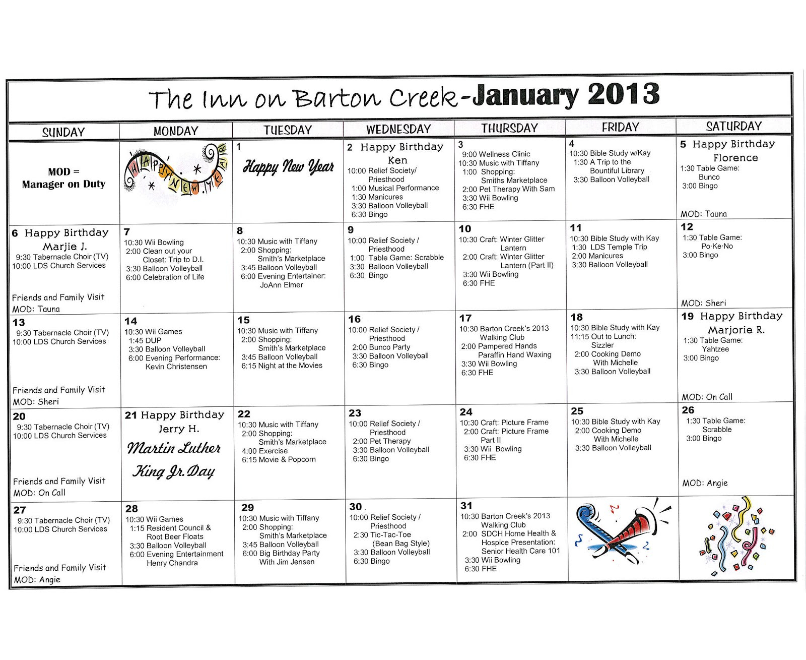 Barton Creek Assisted Living: January 2013 Activities Calendar Pertaining To Assisted Living Activities Calendar Ideas