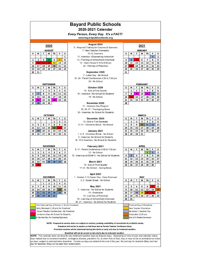 Bayard Schools – 2020 2021 School Calendar For Las Cruces Public School Calendar 2021 20