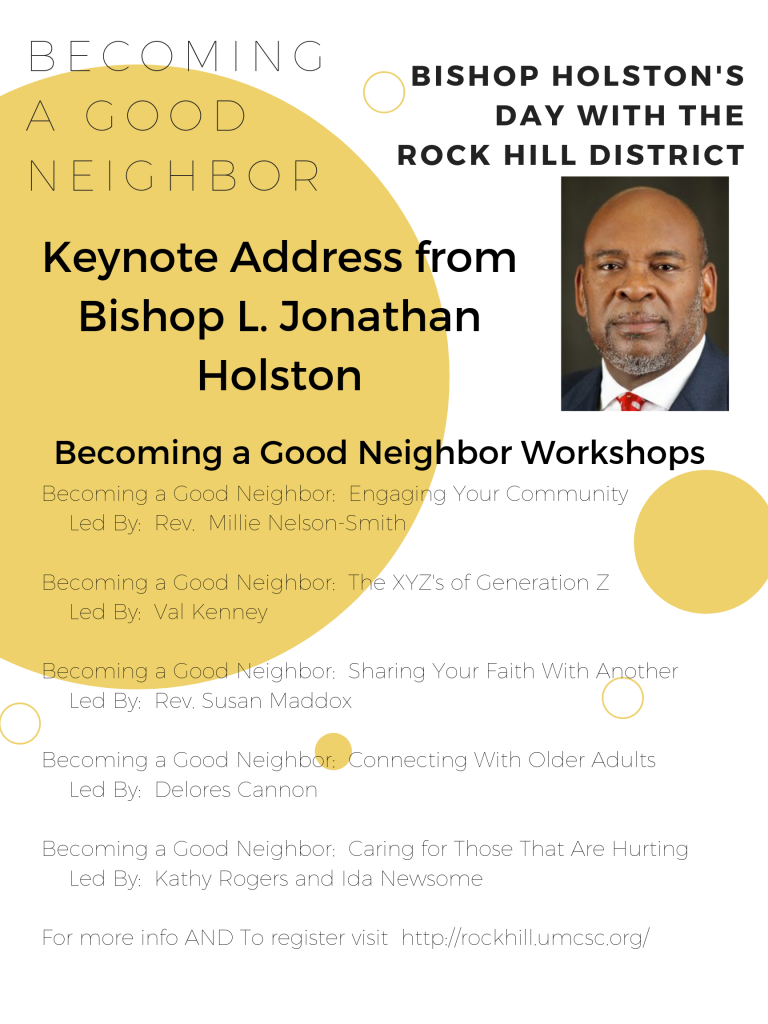 Becoming A Good Neighbor  Bishop Holston's Day With The Throughout Rock Hill District Calendar