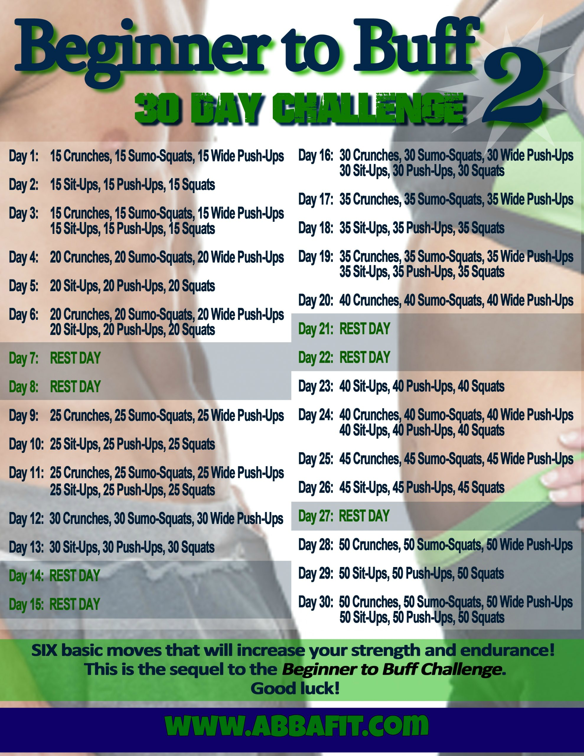 Beginner To Buff 2: 30 Day Fitness Challenge | My Healthy With 30 Day Sit Up Challenge Printable