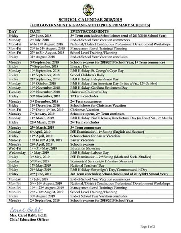 Belize'S School Calendar 2019 | Ambergris Today | Breaking With San Jose City Schools Calendar