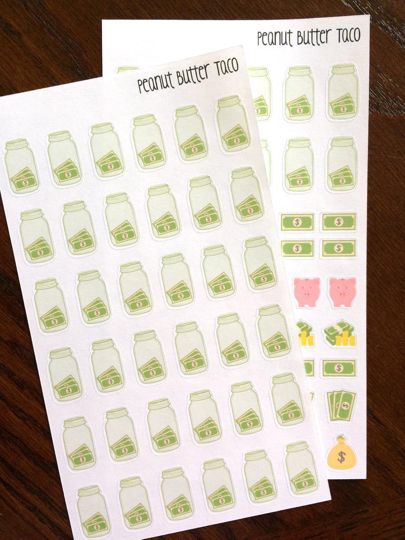 Blank Savings Challenge Planner Stickers 52 Week Money   Etsy Inside 52 Week Printable Calendar Blank