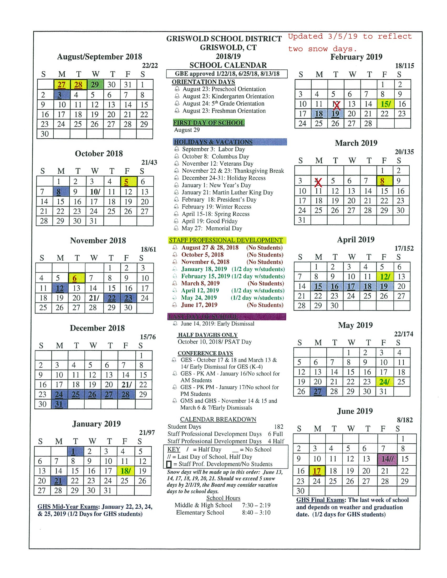 Board Approved Academic Calendar - Griswold Public Schools Inside Spring Calendar 2020 Collin County Community College