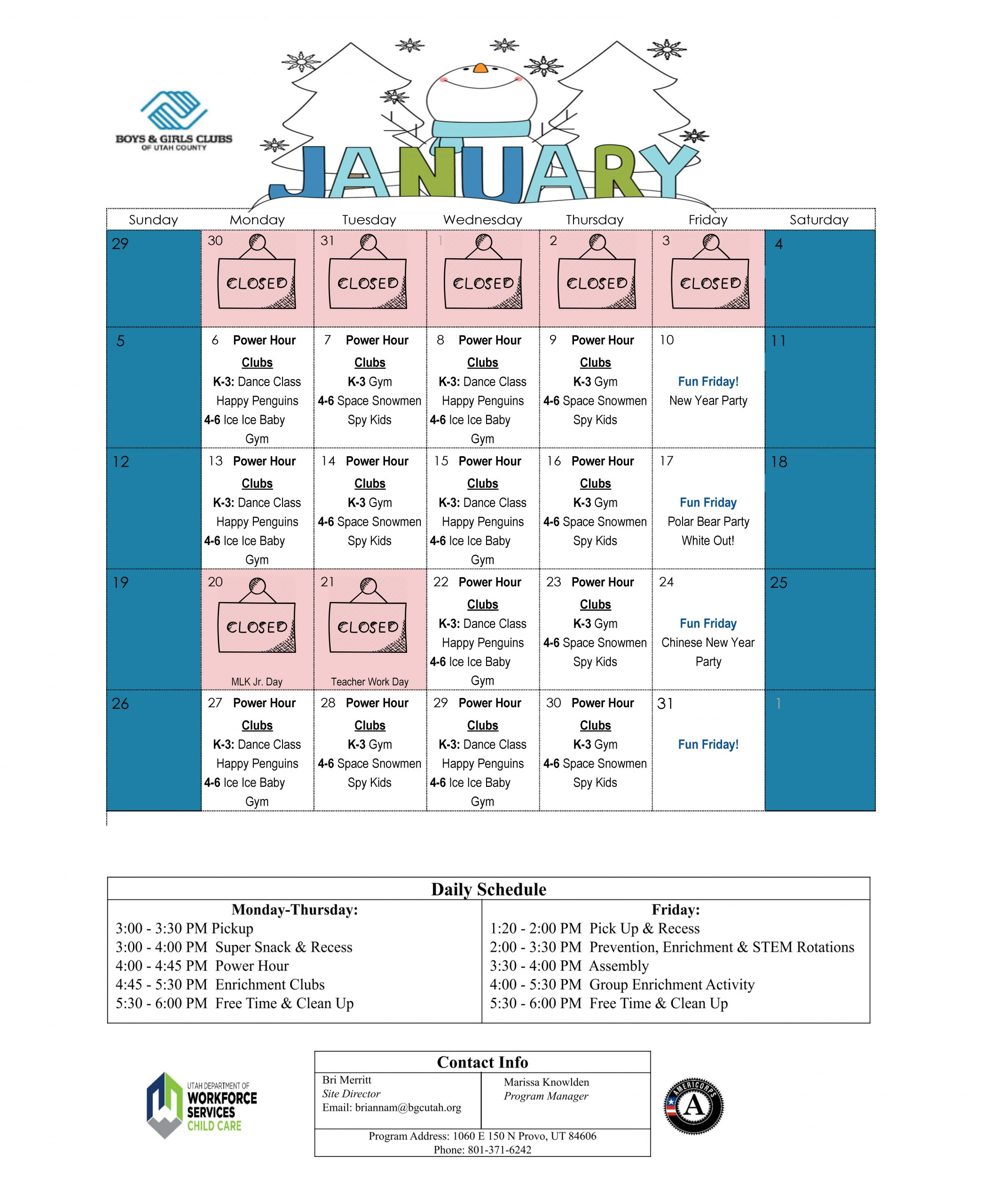 Boys And Girls Club Program Program Calendar | Printable With Meadowview Convention Center Schedule