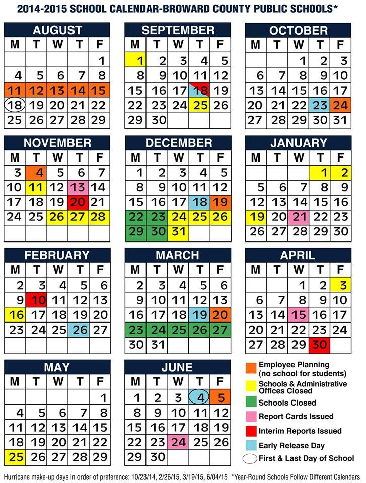 Broward County Schools 2014 2015 Calendar. | Broward In What Is A Sample Year Round School Schedule