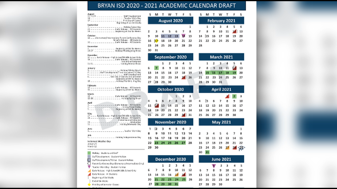 Bryan Isd Adding Eight Days To 2020 2021 Academic Calendar For Spring Semester 2021 Tx A&M College Station