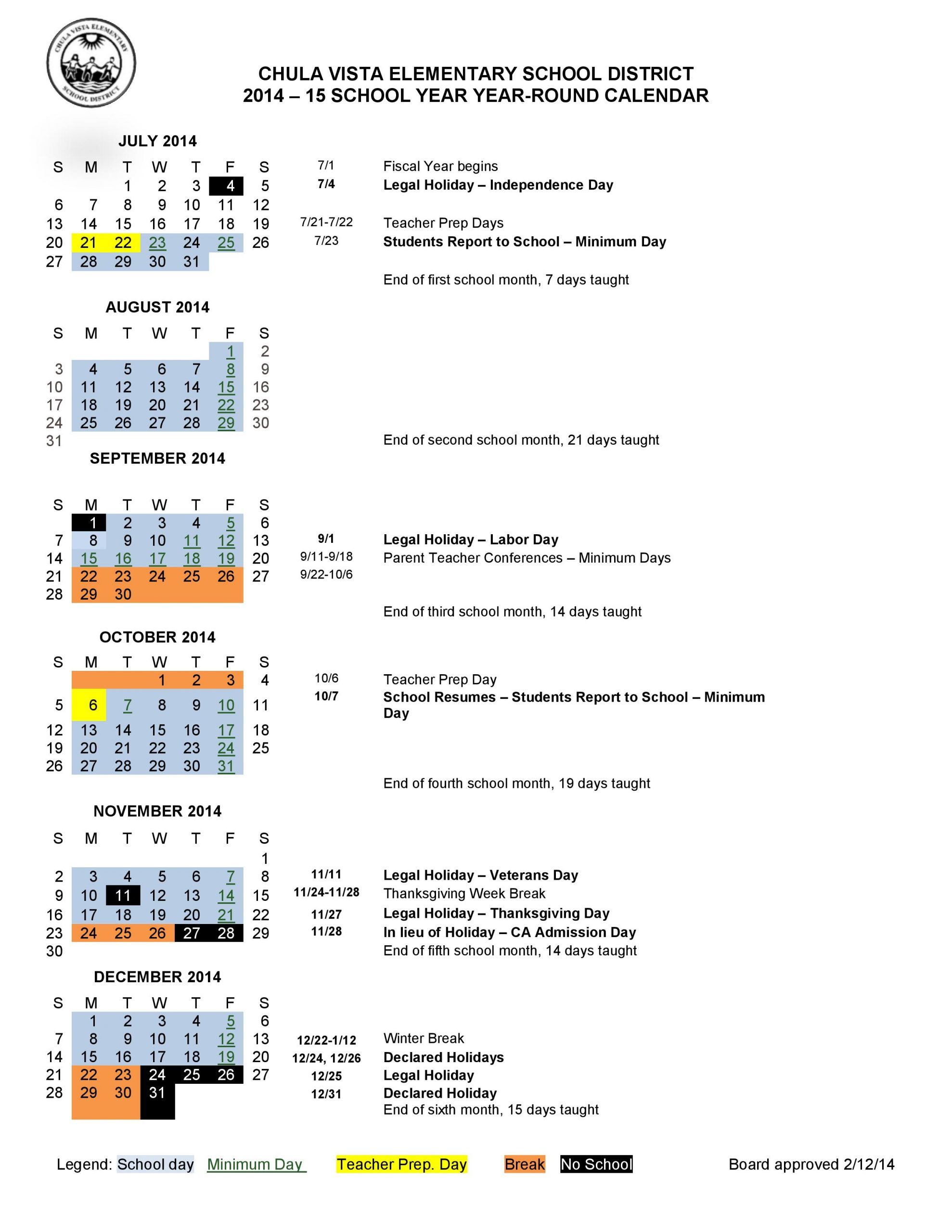 Calendar 2014 2015 | Liberty Elementary With What Is A Sample Year Round School Schedule
