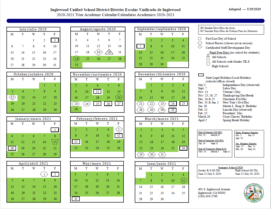 Calendar – About Us – Inglewood Unified School District With Regard To Dorchester County District 2 2020 2021 School Calendar