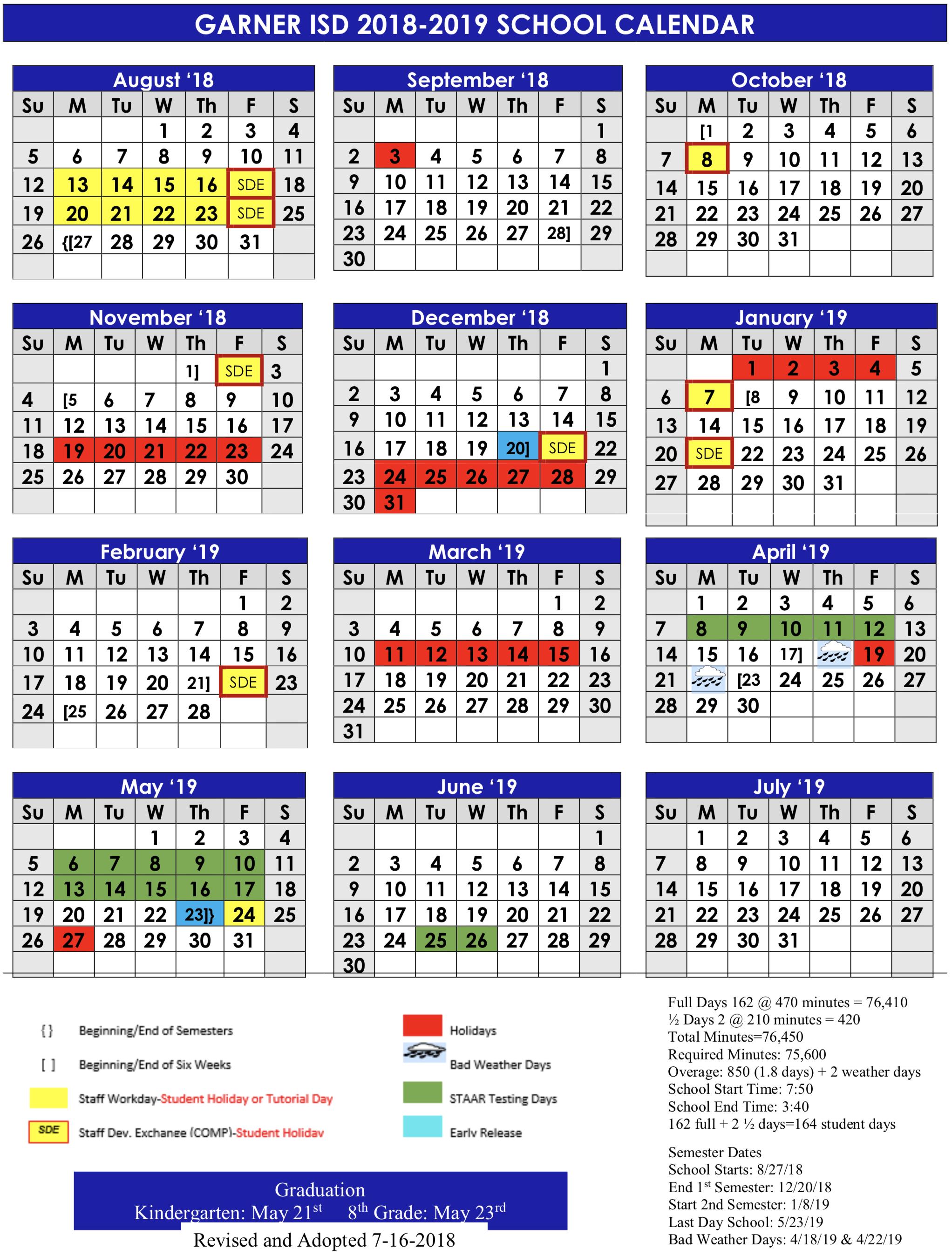 Calendar - Garner Isd in Angelo State Printable Academic Calendar