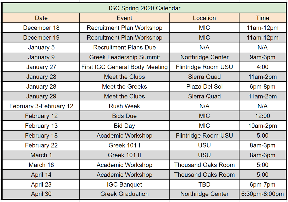 Calendar - Independent Greek Council At California State With Regard To Cal State Northridge Academic Calendar