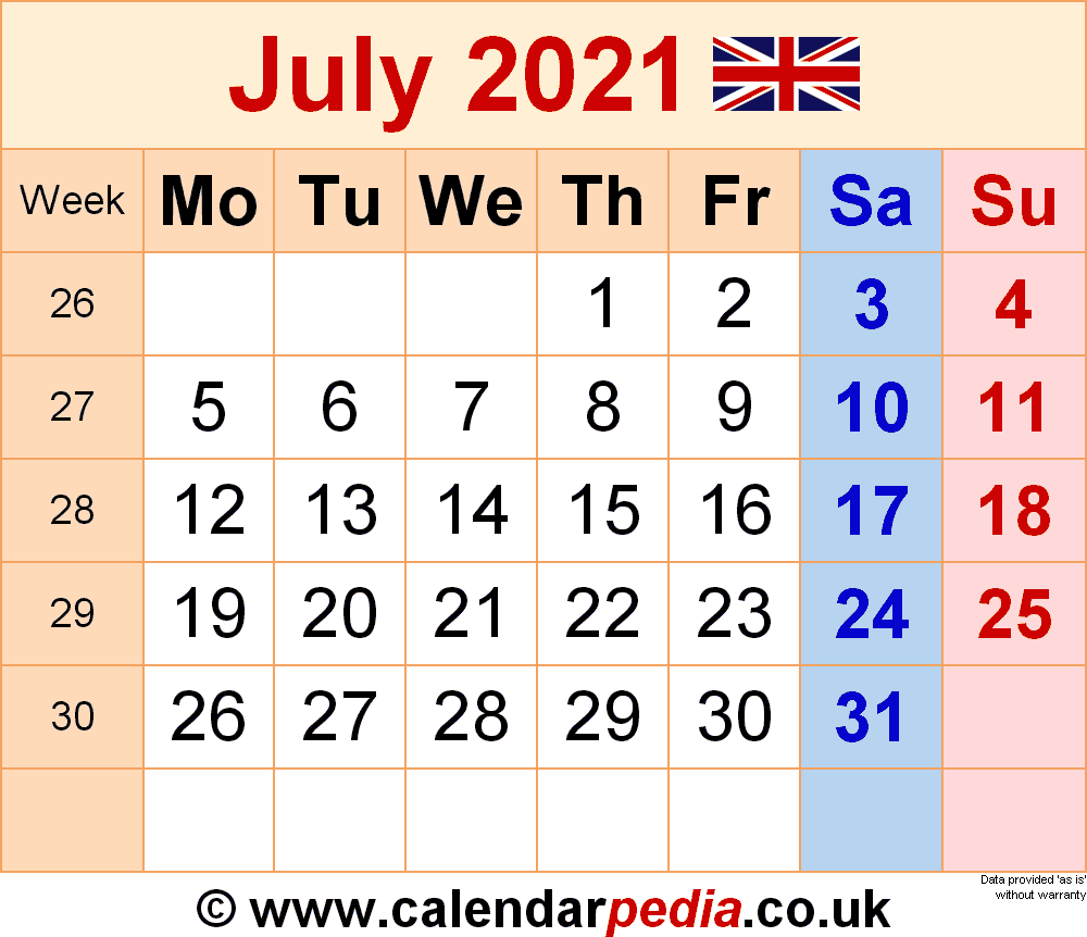 Calendar July 2021 (Uk) With Excel, Word And Pdf Templates In Excel 2021 Calendar Drop Down