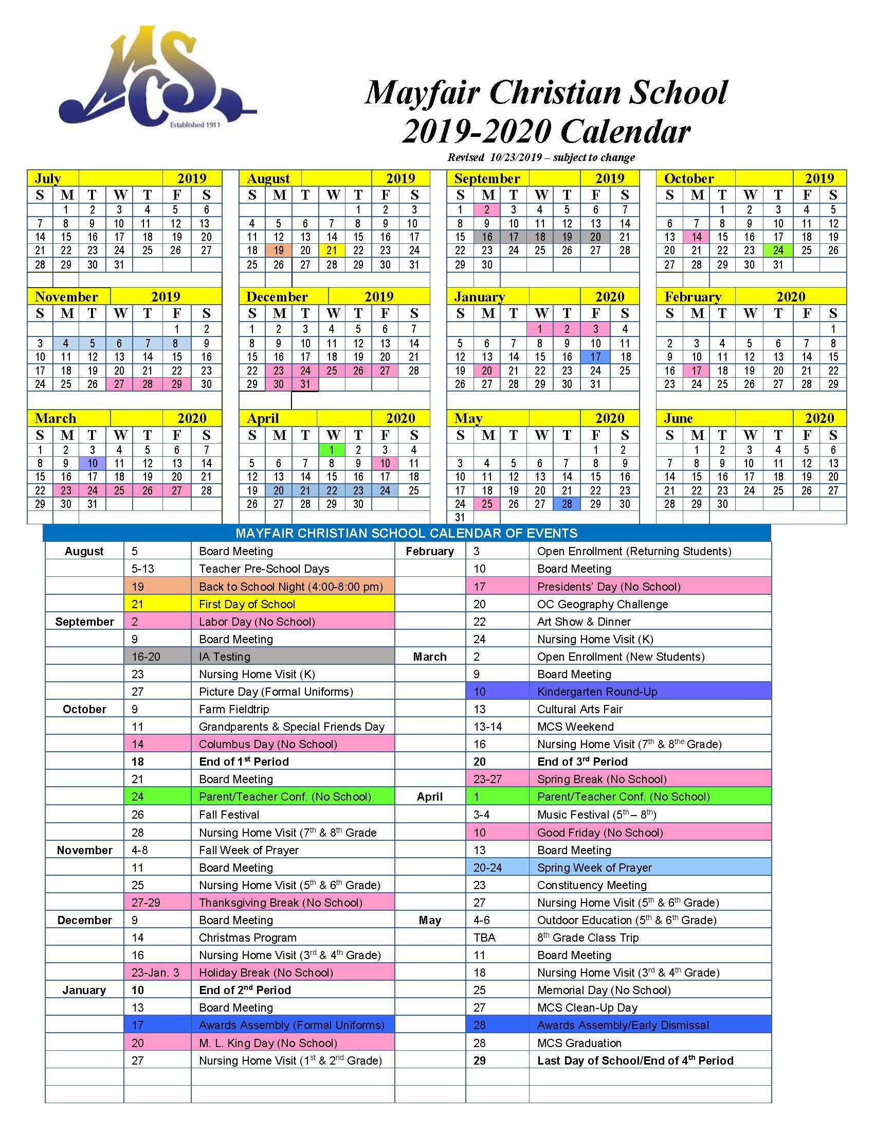 Calendar   Mayfair Christian School Within University Of Akron 2020 Calendar