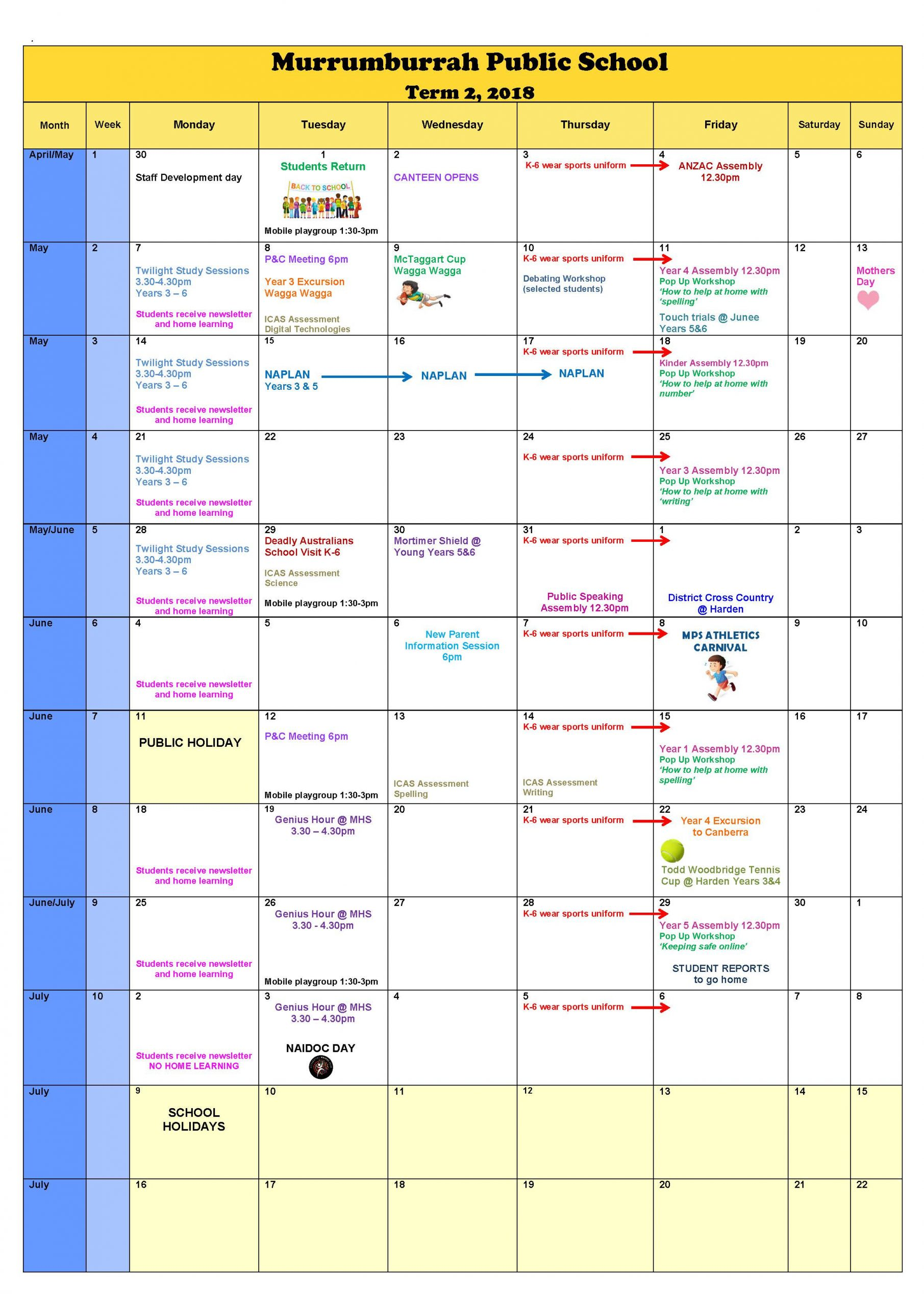 Calendar - Murrumburrah Public School with Doeschool Calendar 2014 2015