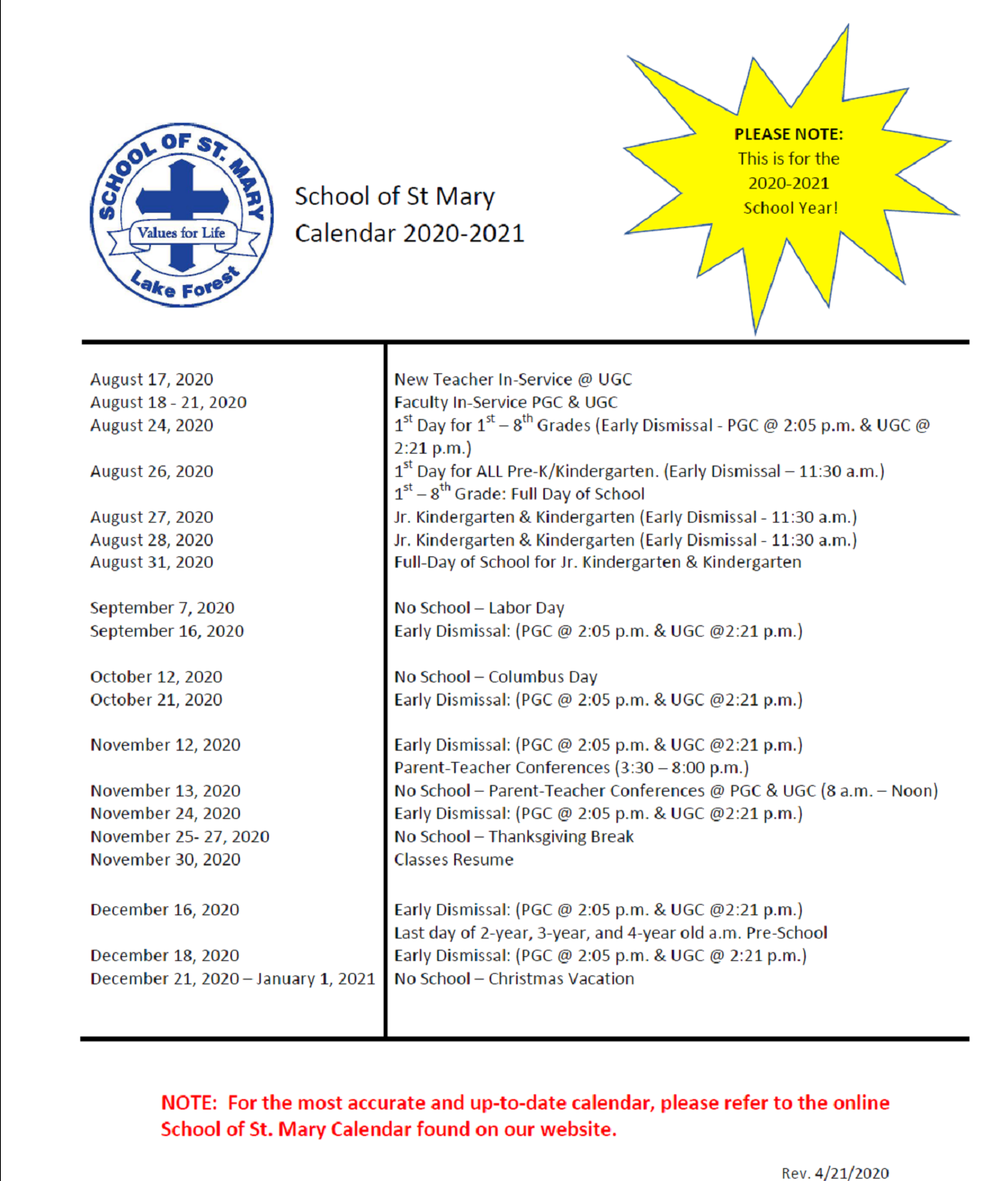 Calendar - School Of St. Mary Regarding St. Charles Community College Summer 2021 Calendar