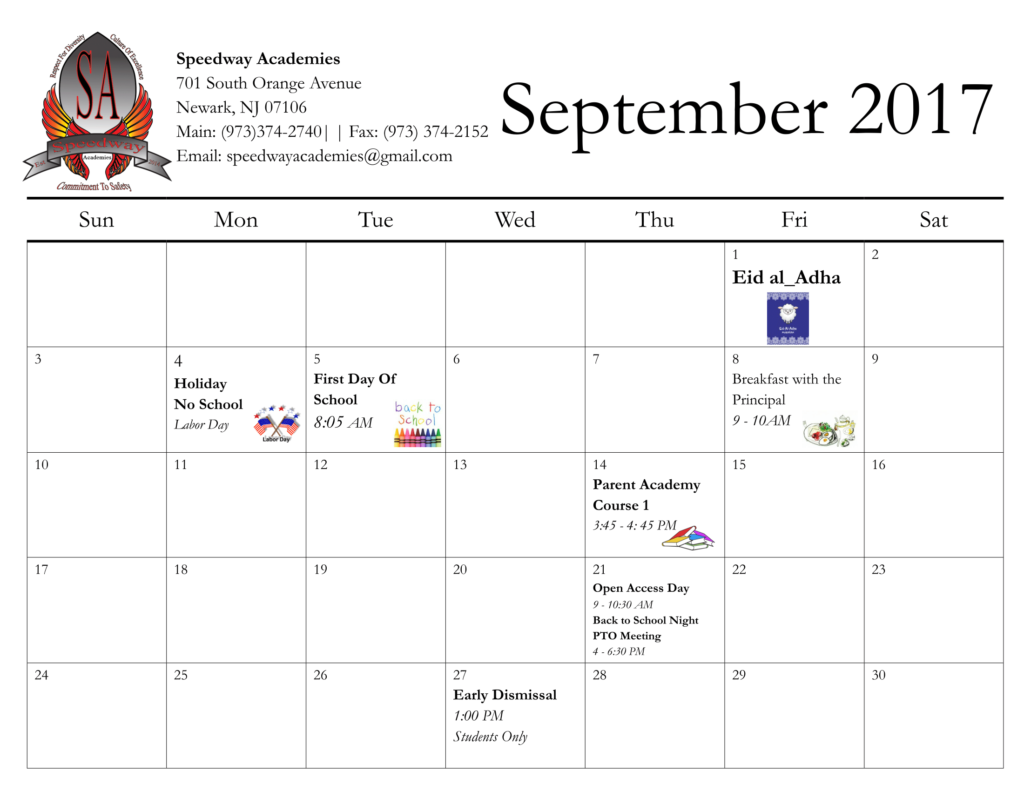 Calendar – Speedway Academies In Jersey City School Calendar 2021