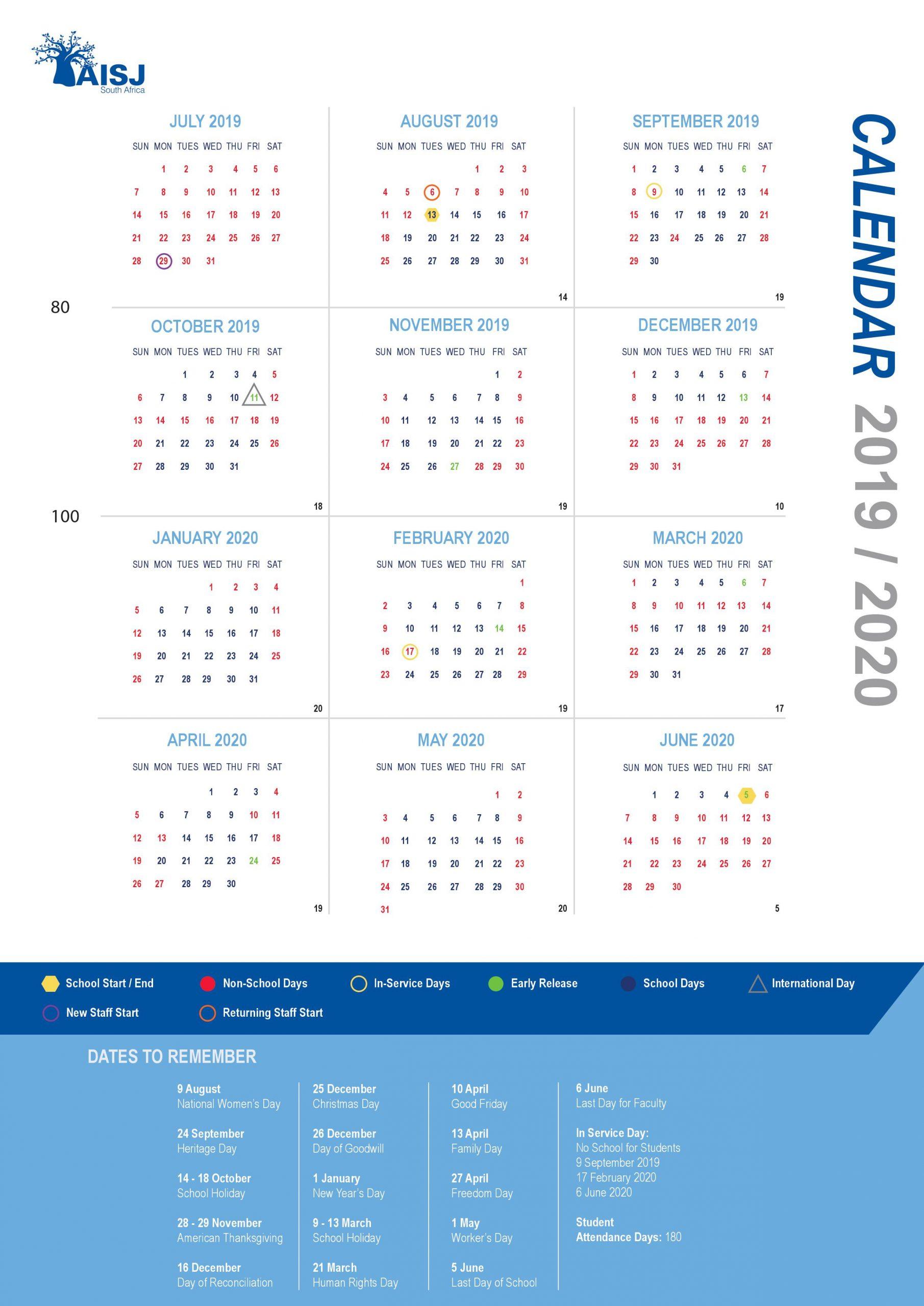 Calendars - American International School Of Johannesburg With Regard To Girne Amerikan University Academic Claendar 2021