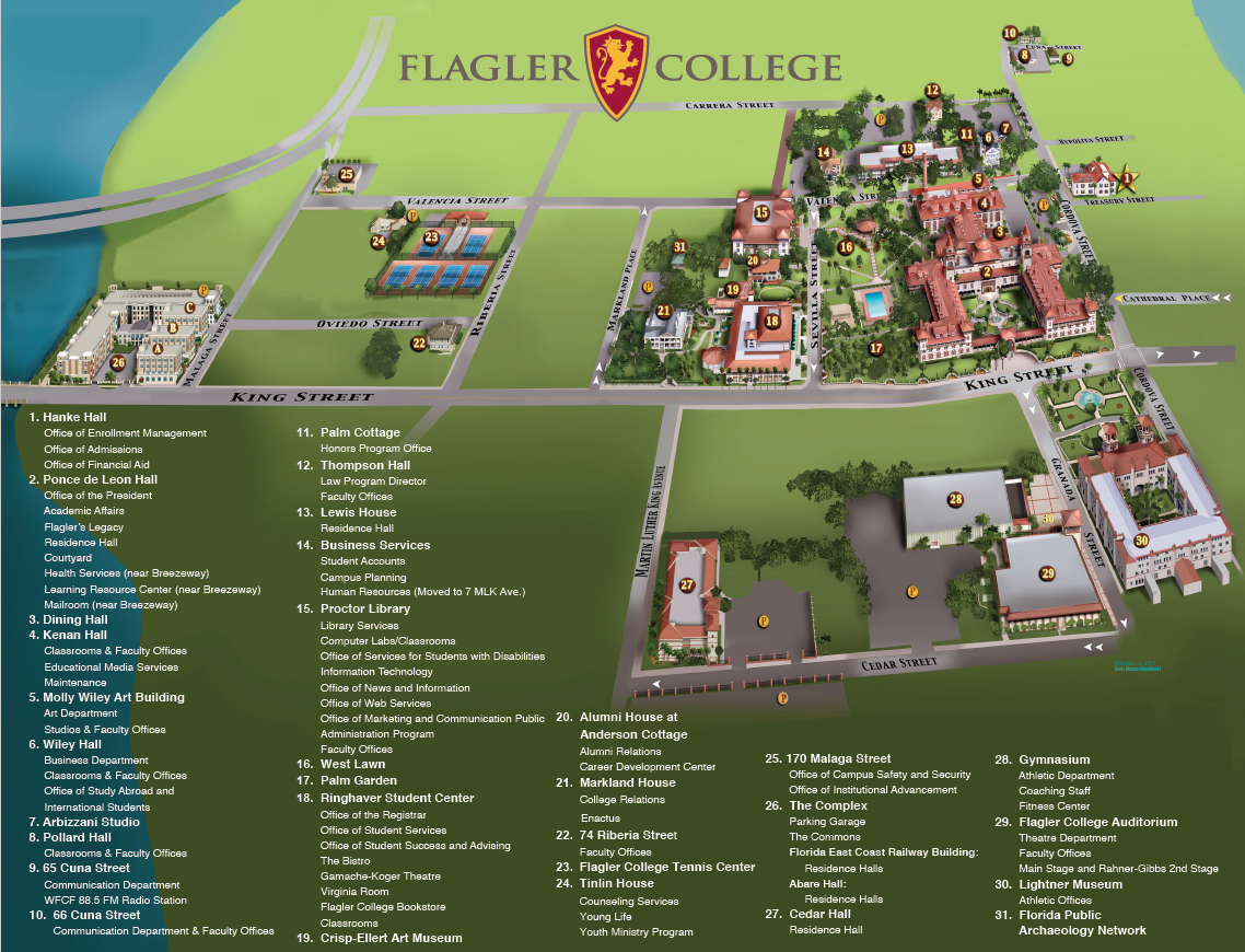 Campus Map & Directions – Flagler College In University Of North Florida Academic Calendar
