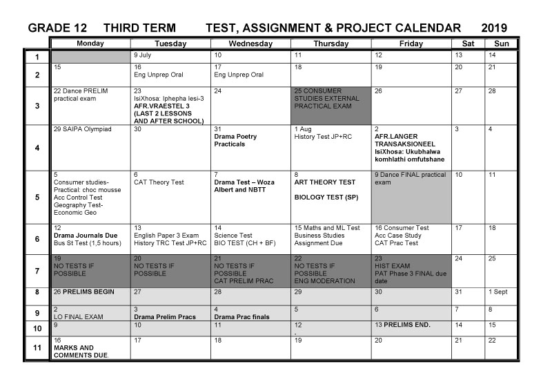 Cbhs Grade 12 Tests Projects & Assignments For Term 3 Of With Bay Co School Calendar 2021 2021