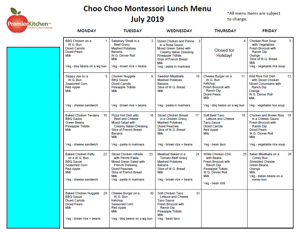 Choo Choo Montessori With Sample Year Round School Calendar
