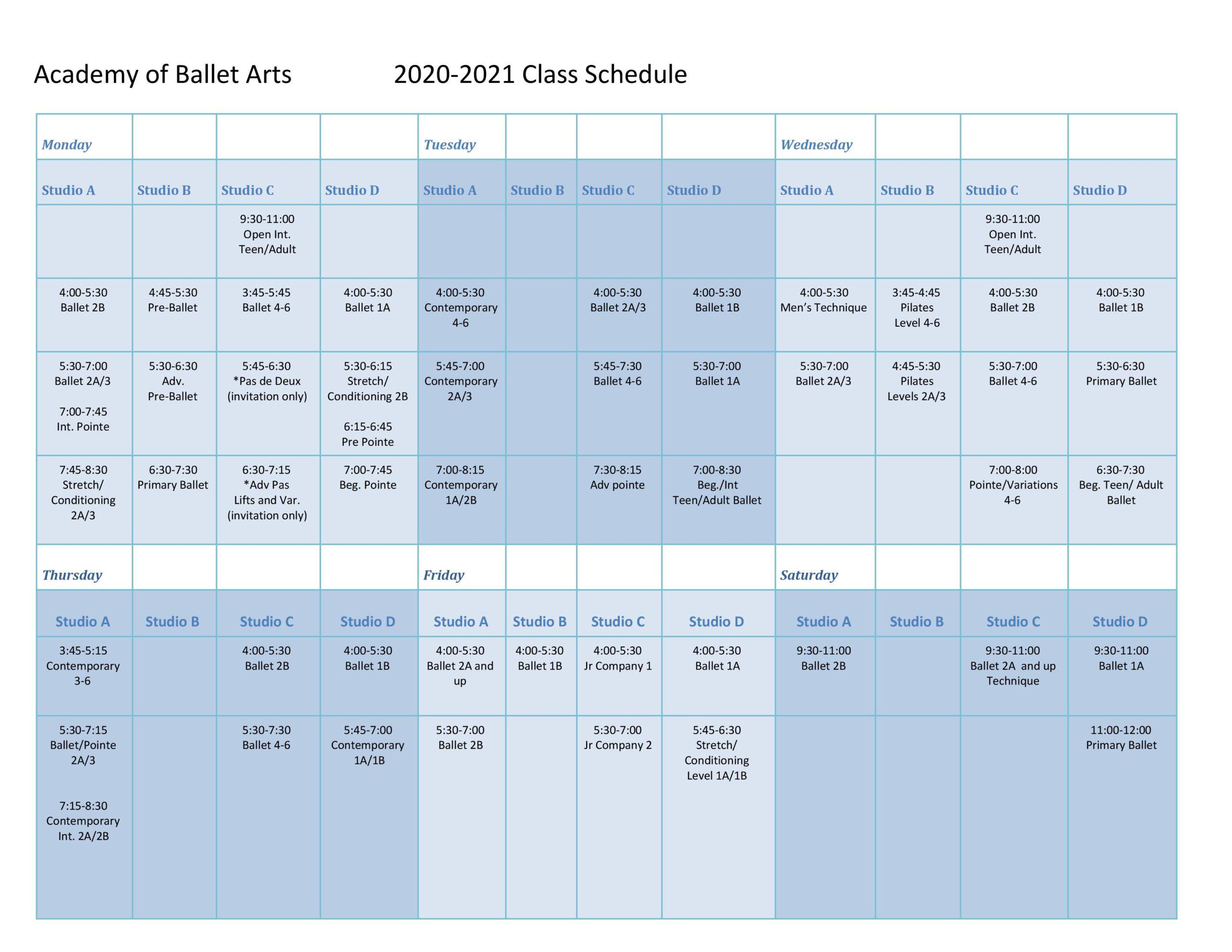 Class Schedule – Academy Of Ballet Arts Intended For Temecula School Calendar 2021