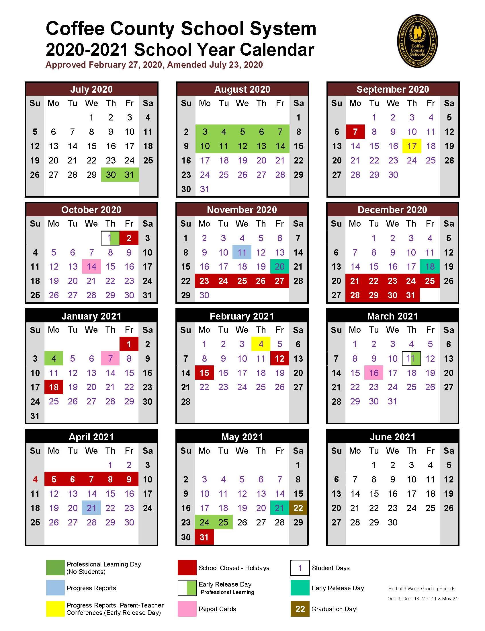 Coffee High School: 2020 2021 School Calendar In Tehama County Office Of Education 2021  2021 Calendar
