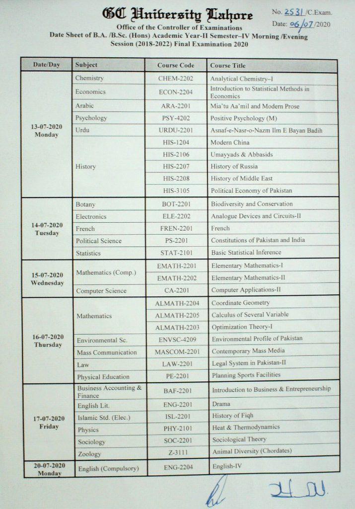 Controller Of Examinations – Gc University, Lahore. With Gcu Academic Calendar Non Traditional 2020