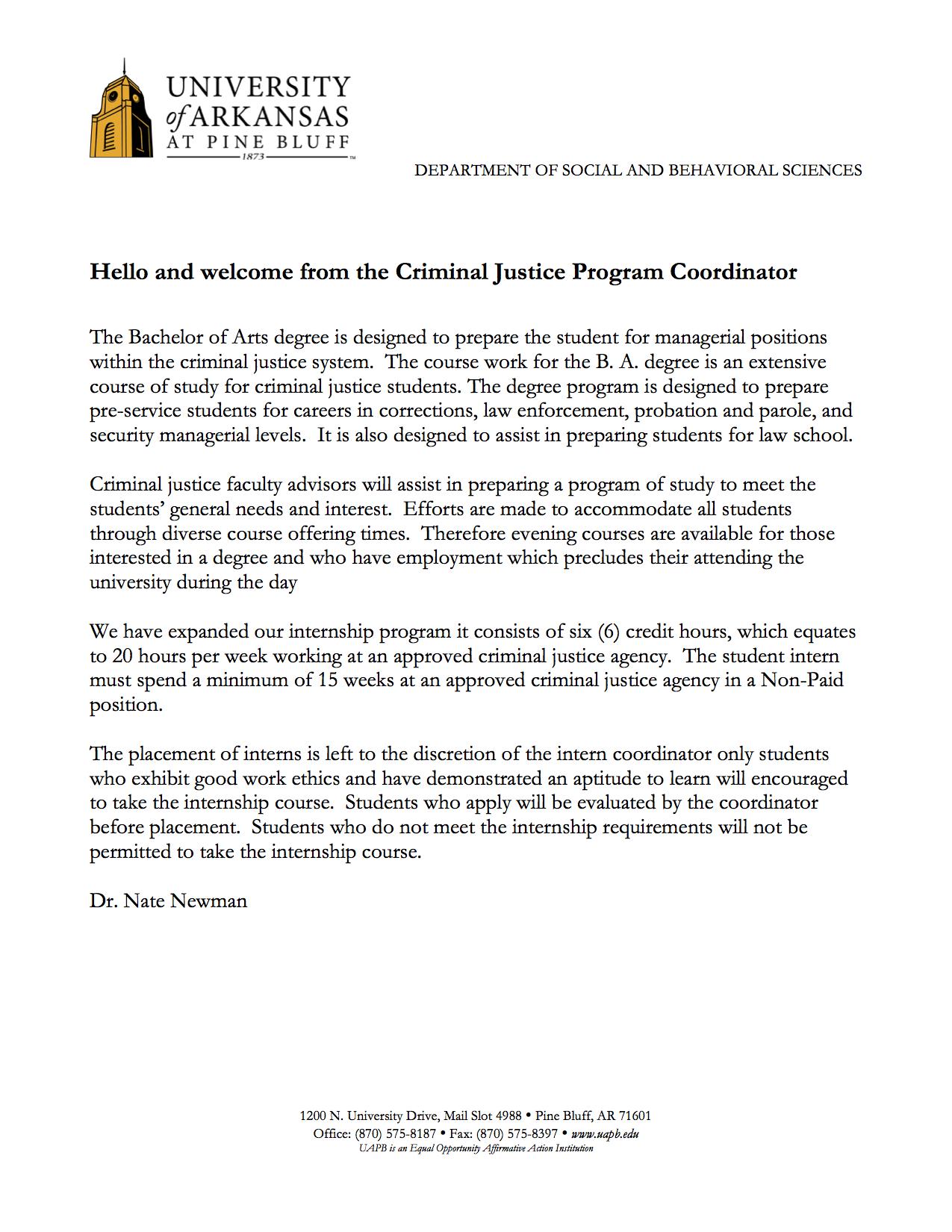 Coordinator - Criminal Justice | University Of Arkansas At In Pine Bluff School District Ar 2021 2020 Calendar