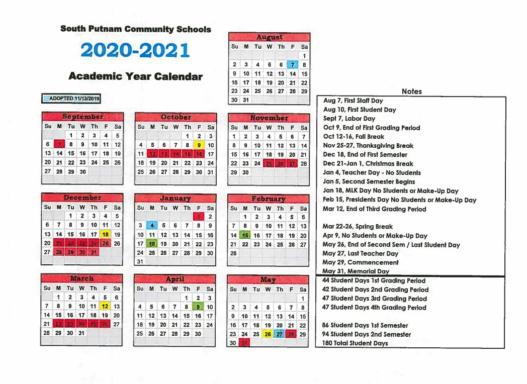 Corporation Calendar – South Putnam Community School Throughout Smithtown School Calendar 2021 20