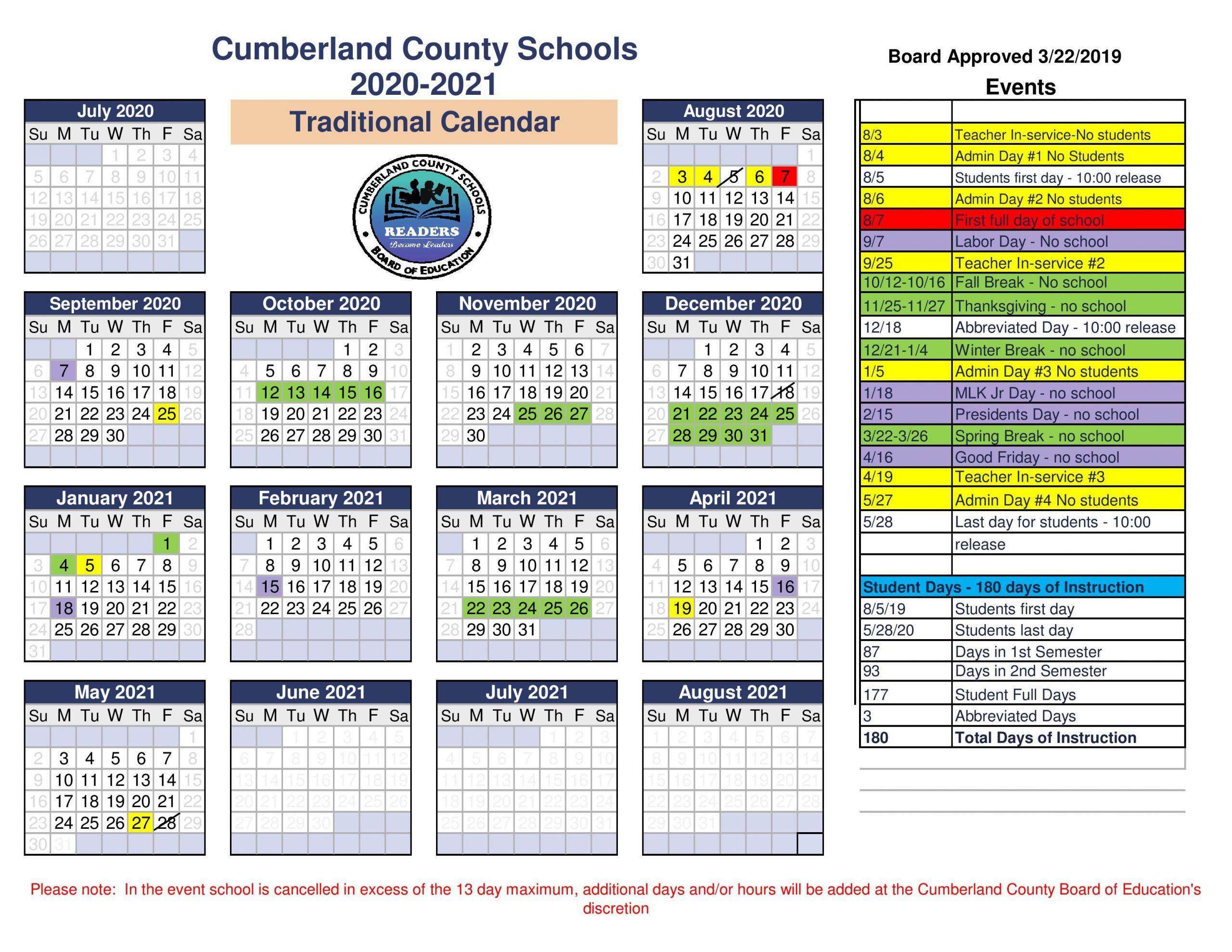 Cumberland County School District Regarding Tehama County Office Of Education 2021  2021 Calendar