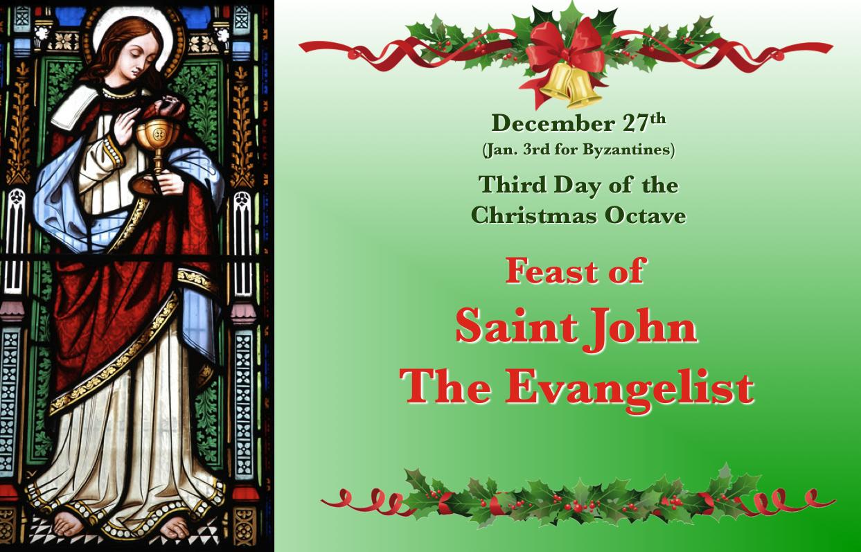 Dec. 27, Feast Of St. John The Apostle. | Catholic For Catholic Saint Of The Day Calendar