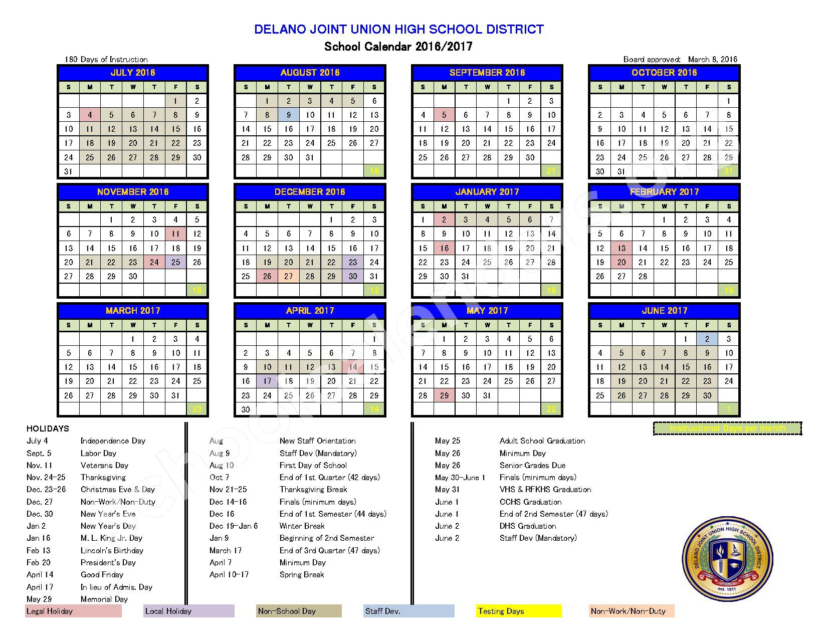 Delano Joint Union High School District Calendars – Delano, Ca Intended For Aiken High School Sc Calendar For 2015