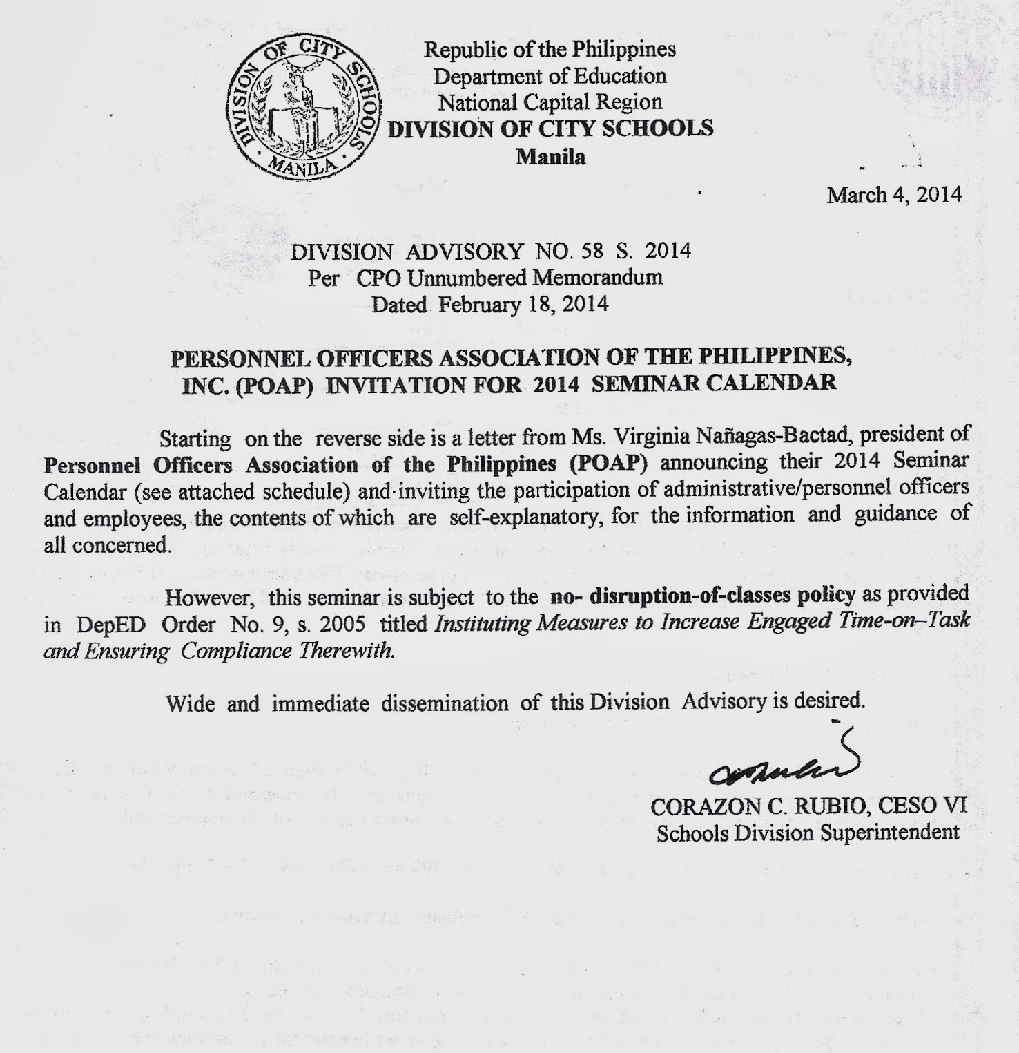 Department Of Education Manila: Division Advisory No. 58 In Doeschool Calendar 2014 2015