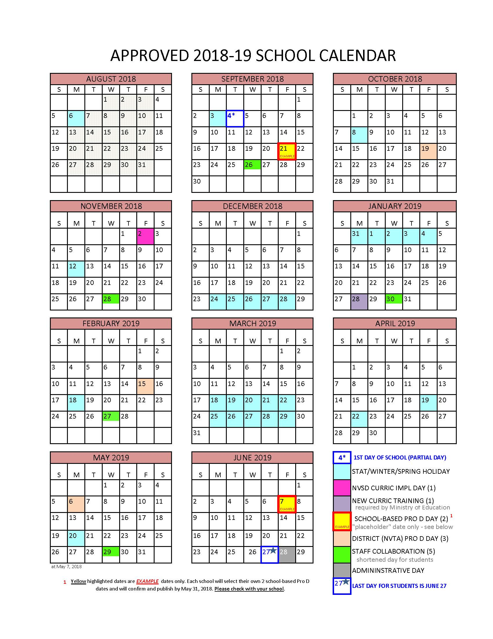 District Calendar – North Vancouver School District With Aiken High School Sc Calendar For 2015