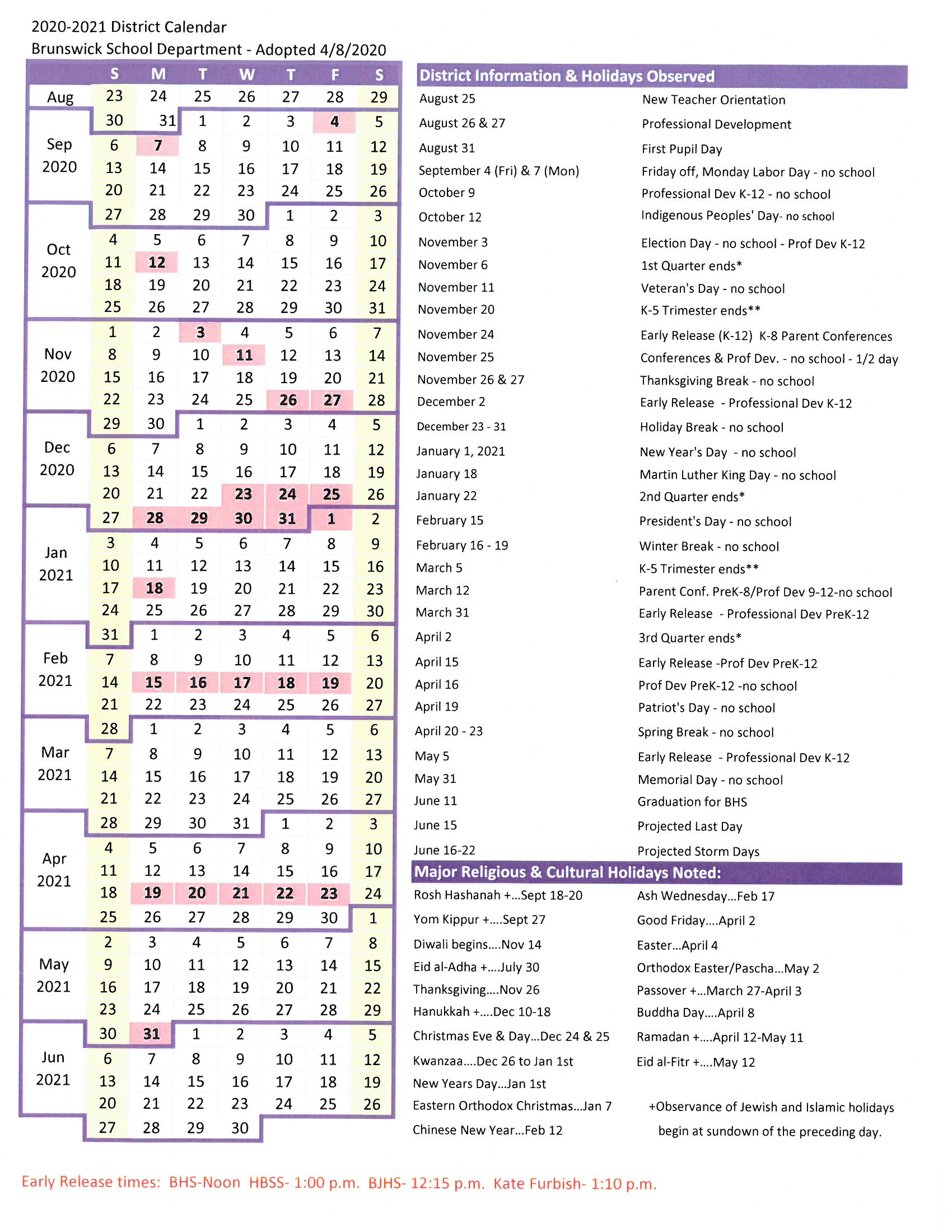 Dsm School Calendar | Printable Calendar 2020-2021 within Chart Of Sunrise And Sunset Times By Zip Code