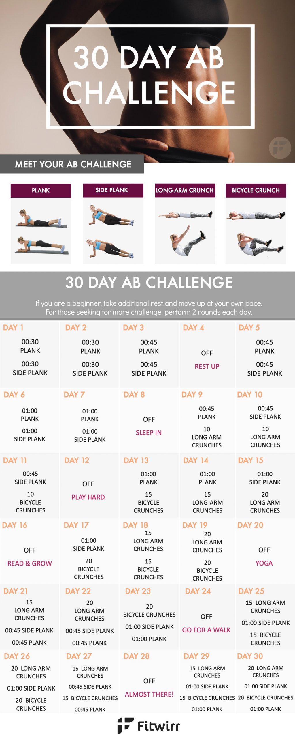 ตารางออกกำลังกาย แผนออกกำลังกาย หุ่นสวย หุ่นดี ออกกำลังกาย Intended For 30 Day Challenge For A Flat Stomach Calender
