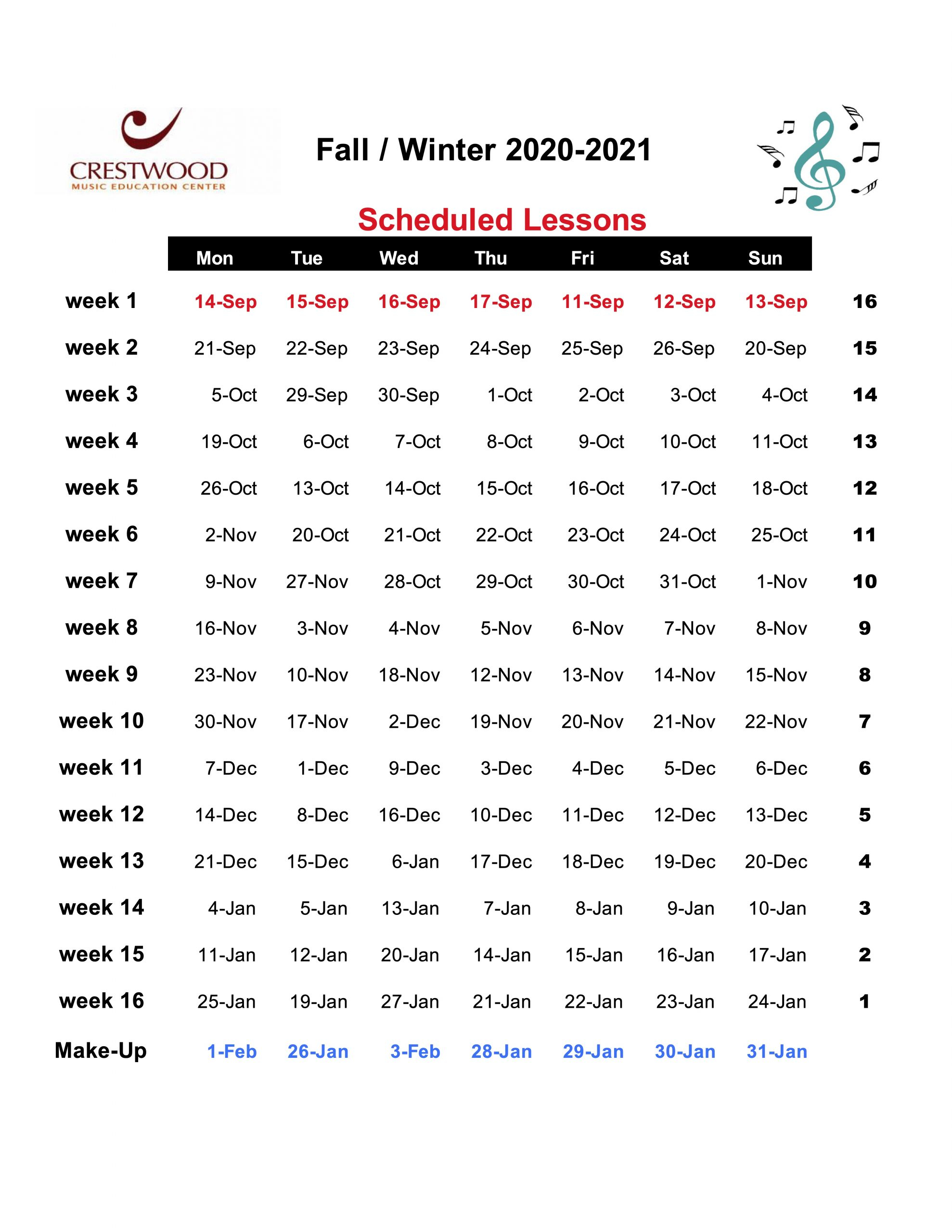 Fall/Winter Sessions 2020 2021 – Crestwood Music Education With Regard To White Plains School District Calendar 2021
