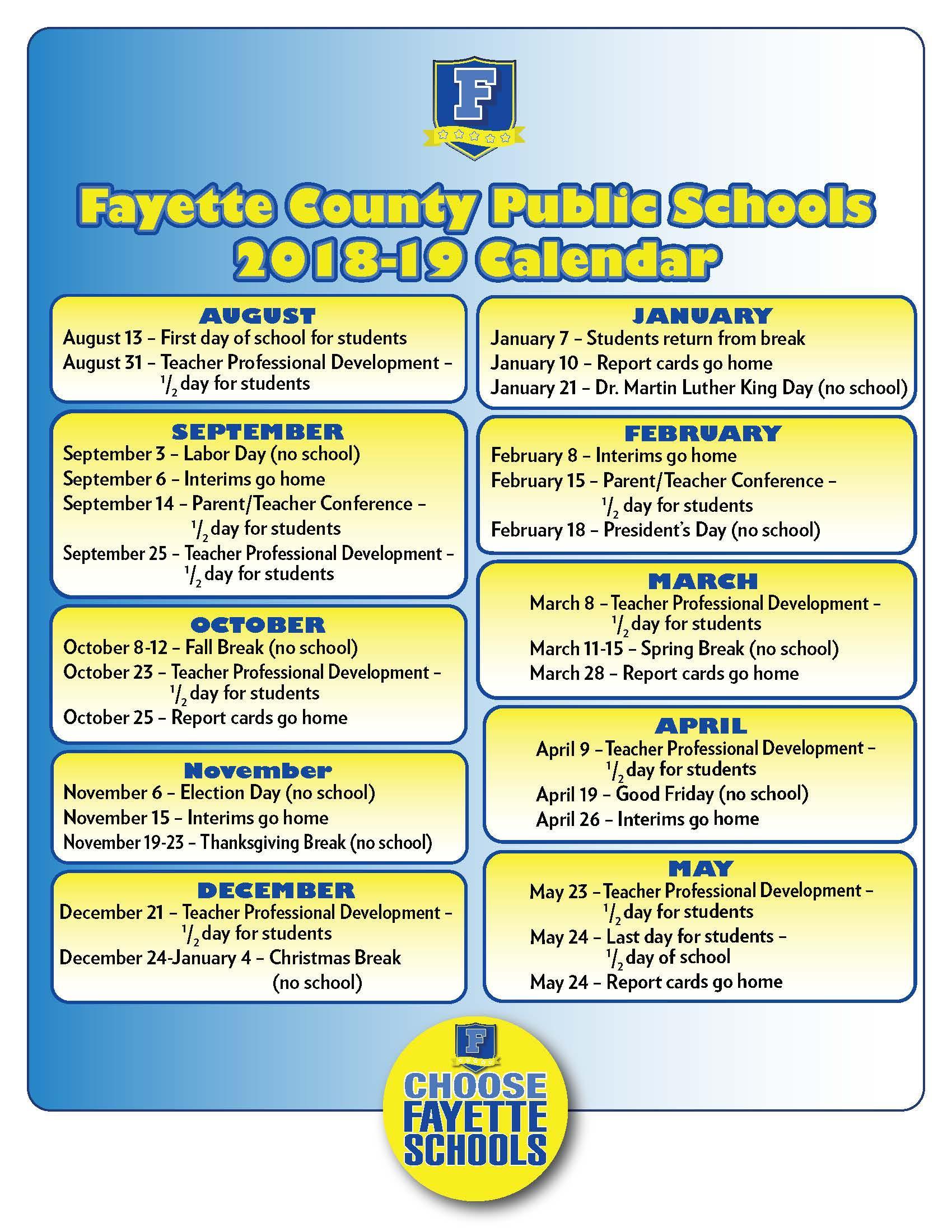 Fayette County Schools Calendar | Calendar Fall 2020 Throughout Fayette Co Ga School Holidays