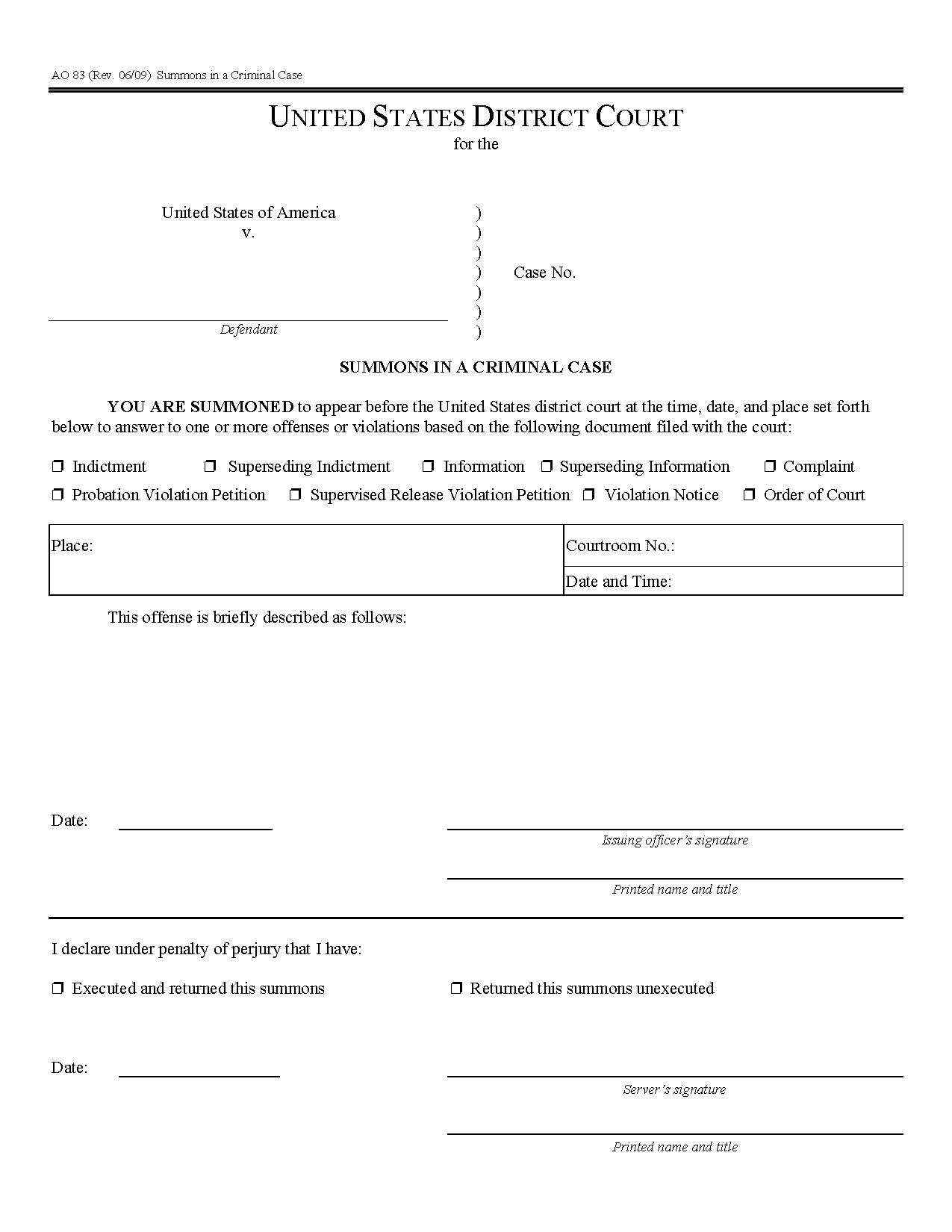 Form Ao 083 Summons In A Criminal Case Within Court Dates By Defendant Name