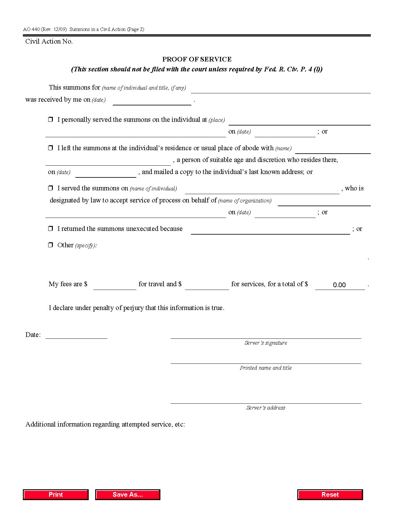 Form Ao 440 Summons In A Civil Action Pertaining To Court Dates By Defendant Name