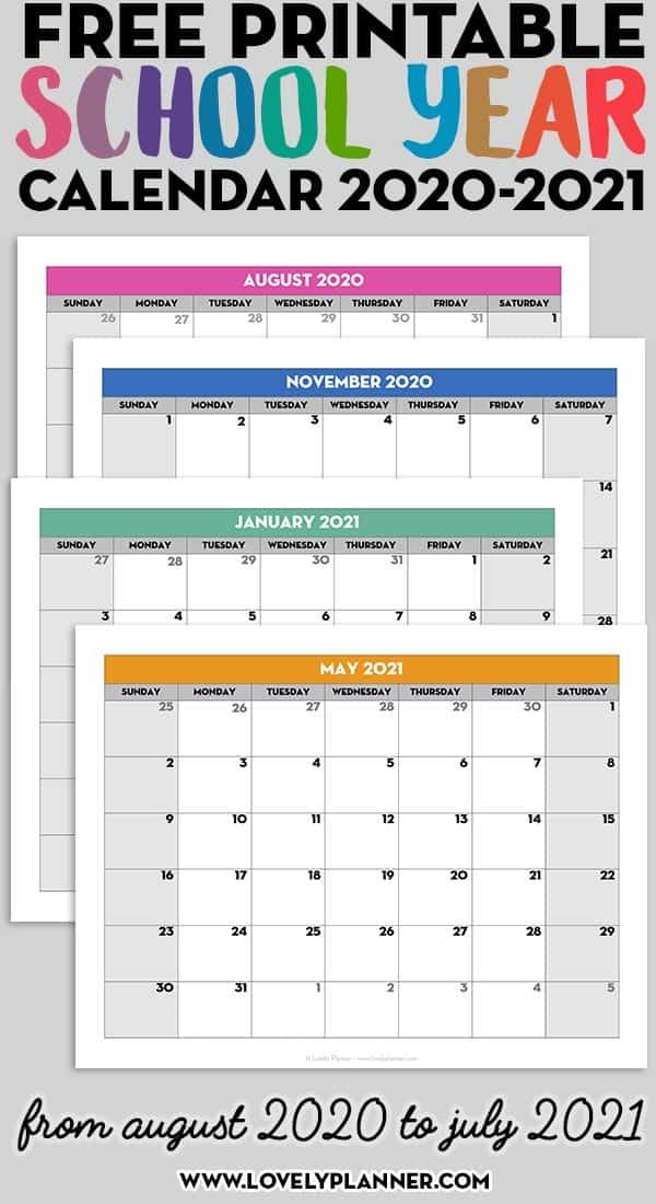 Free Printable 2020 2021 Monthly School Calendar Template With Academic Calendar Chamberlain 2021