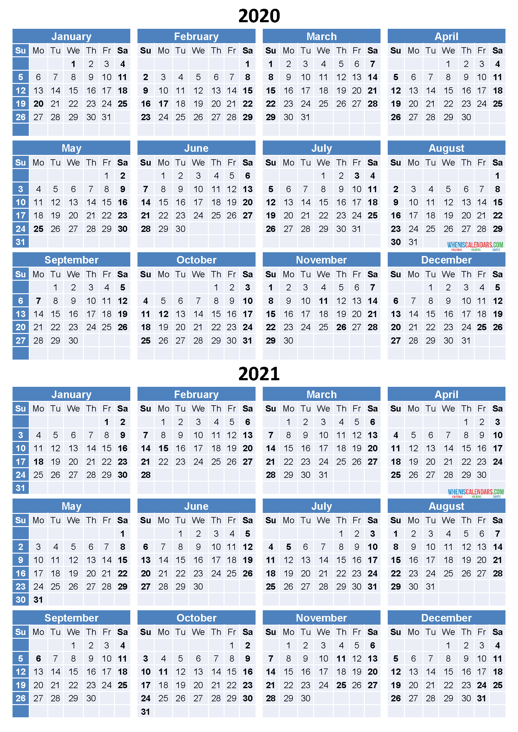 Get Free 2 Year Calendar 2020 2021 | Calendar Printables Intended For How To Create Countdown 2 Year Calendar Starting In April