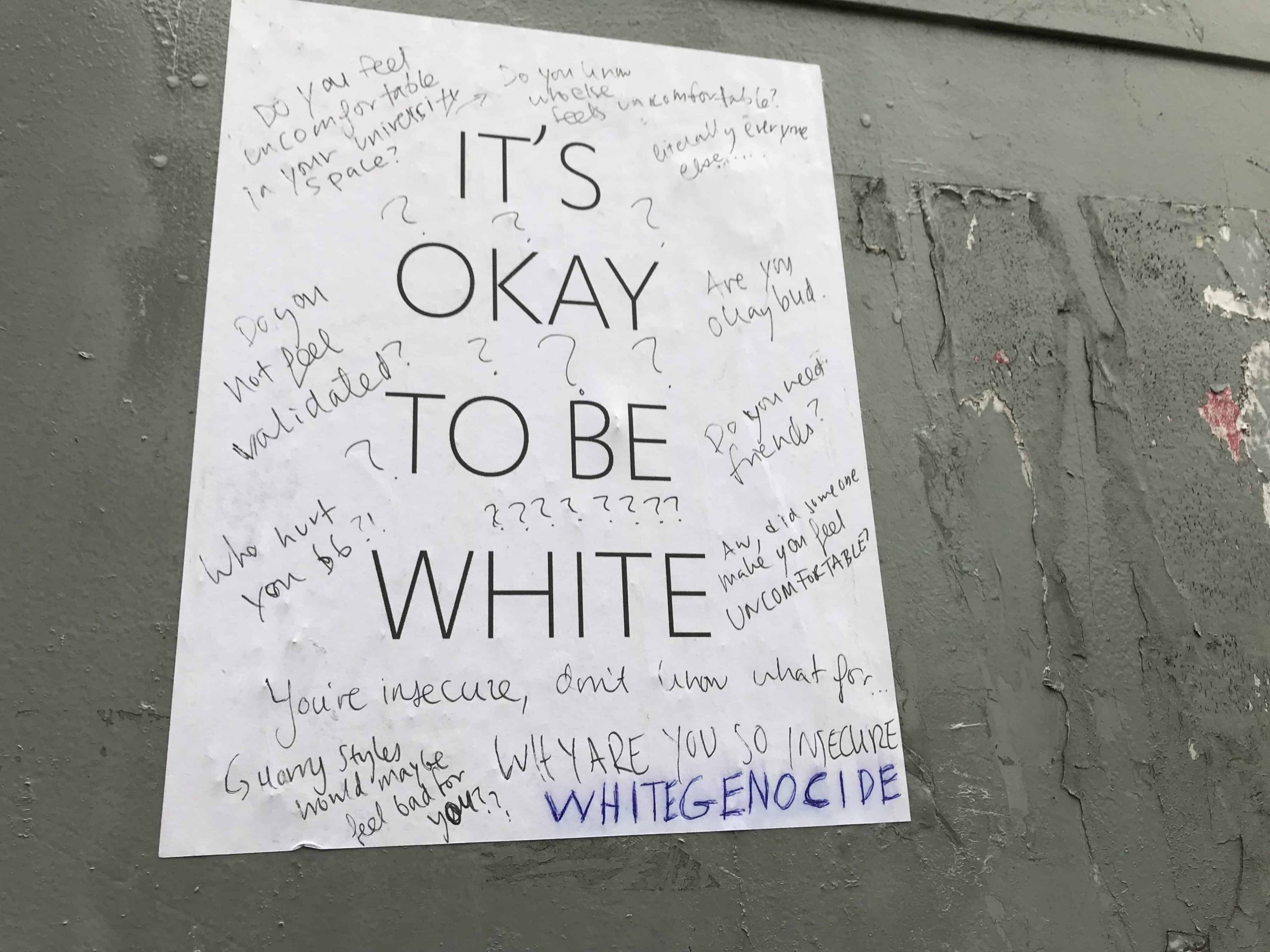 "Group Spotted Putting Up ""It's Okay To Be White"" Posters Within University Of Toronto Calendar"
