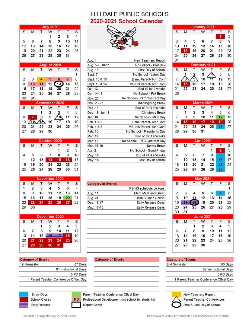 Hilldale Public Schools - 2020 2021 School Calendar Within Las Cruces Public Schools Calendar 2021 2020