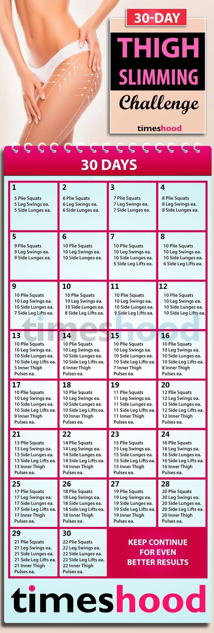 How To Get Slim Thigh? Try This 30 Day Thigh Workout For 30 Day Thigh Workout Free Printout