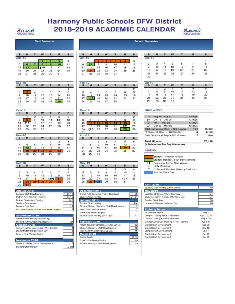 Hse Academic Calendar – Harmony School Of Excellence For Davidson County Tn School Candr 2021 2020