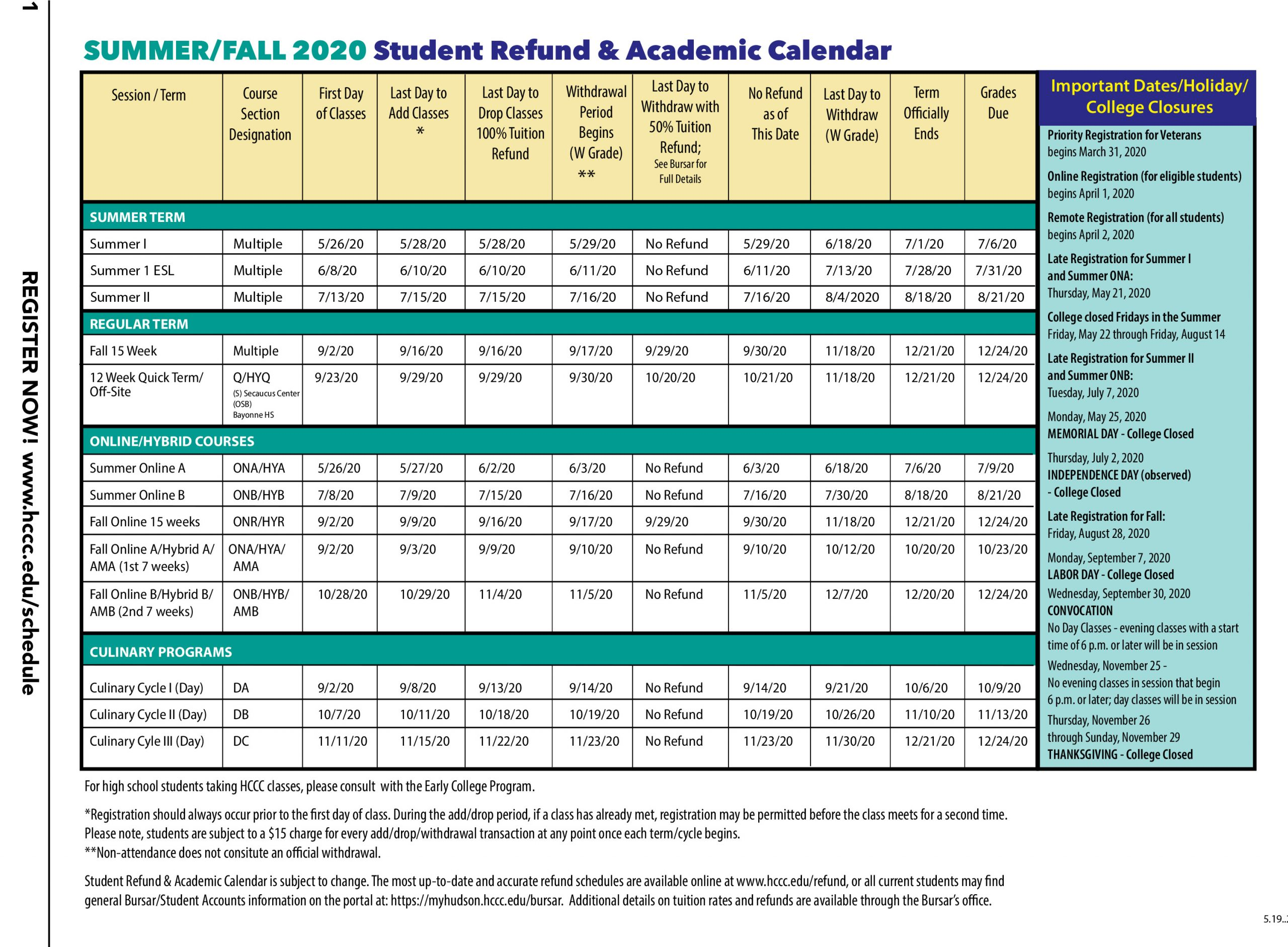 Hudson County Community College Regarding Spring Calendar 2020 Collin County Community College